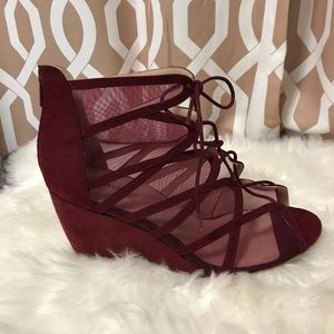 Burgundy Lace-Up Cage Wedge 12W